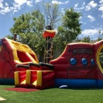 pirate ship combo rock climb, slide, and bounce house