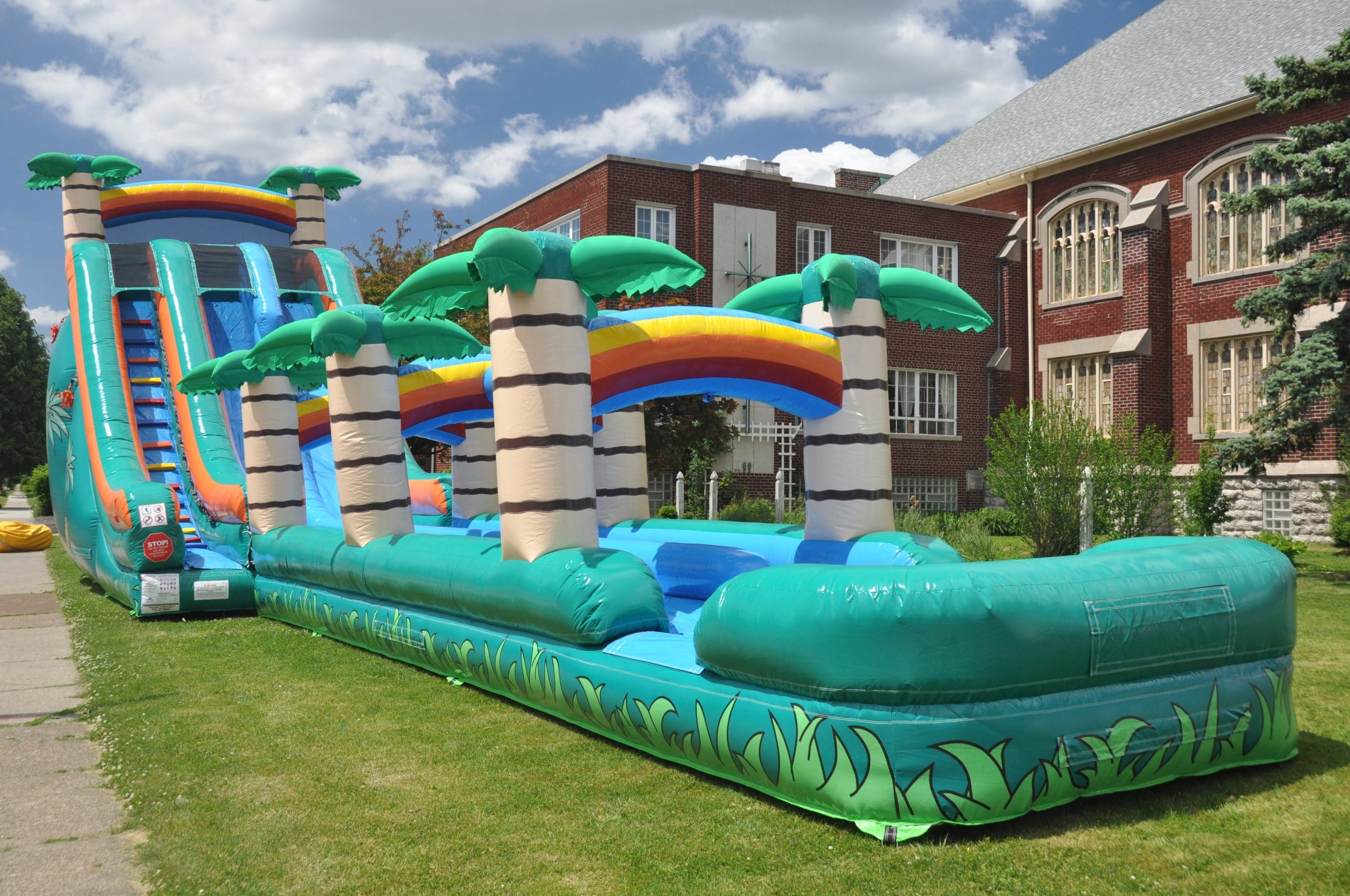 Tropical Double Lane Slip And Slide Water Inflatable