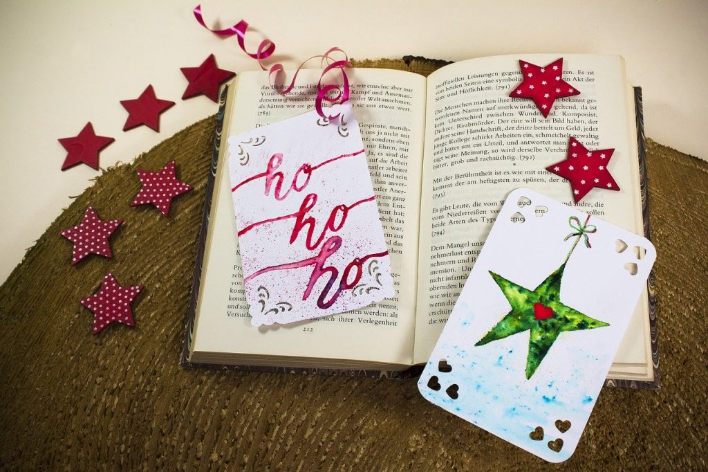 Christmas themed bookmarks in side book