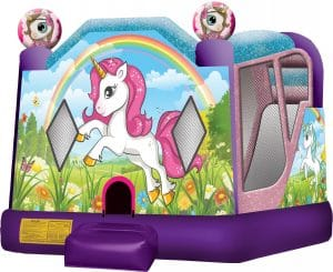 unicorn inflatable bounce house slide combo