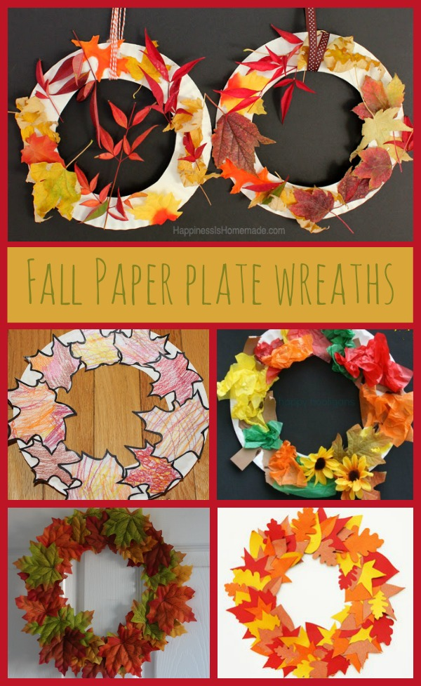 DIY fall paper plate wraeths made from different materials