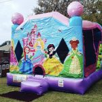 Little princess bounce house rental combo with slide on grass