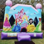 Little princess bounce house rental combo with slide outdide front view