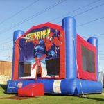 Spiderman bounce house rental on grass Texas