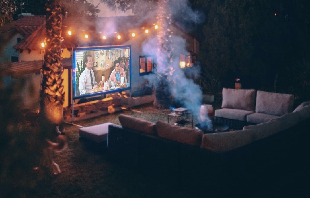 bakyard seating set up home movie theater projection